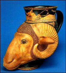 Athenian rhyton (ancient Greek drinking horn, made of pottery or metal, having a base in the form of the head of a woman or animal) | Museo di Archeologia Ligure, Genoa, Italy