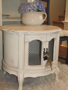 French provincial nightstand in old white, with a Paris g/ french linen wash.