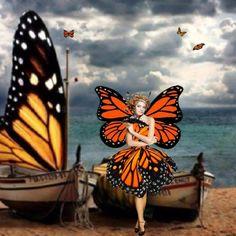 """When Fairies Sail the Seas"" Fairy Dust, Fairy Tales, Butterfly Fairy, Butterfly Kisses, Autumn Fairy, Dreams And Nightmares, Mythical Creatures, Faeries, Elves"