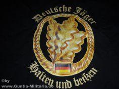 Bundeswehr T-Shirt deutsche Jäger - halten und beißen in schwarz, Detailansicht T-Shirt deutsche Jäger