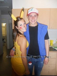 Cute Ash and Pikachu Couple Halloween Costume