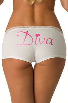 """Relax and lounge around in these comfortable boyshorts! White boyshorts with sheer lace trim on top and pink """"Diva"""" detail on back. Mix and match colors with other items from our Diva collection for a complete look! Boy Shorts, Gym Shorts Womens, Short Shorts, Diva Design, Lingerie Accessories, Mix N Match, Lace Trim, Sexy, Swimwear"""