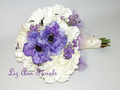 Silk PURPLE Anemone White Real Touch FLowers by LizAnnFlorals