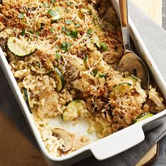 This family-pleasing casserole features lean turkey tenderloin pieces, brown rice, zucchini, and mushrooms, all baked in a creamy sauce and topped with crunchy crumbs and cheese. Rice Bake Recipes, Casserole Recipes, Baking Recipes, Rice Casserole, Oven Recipes, Turkey Tenderloin Recipes, Turkey Recipes, Chicken Recipes, Diabetic Recipes