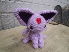 Espeon amigurumi. This was my first Eeveelution and the one that would set the standard for all the rest. I use the same base pattern for all of them, now, so Espeon was a good template to start out.