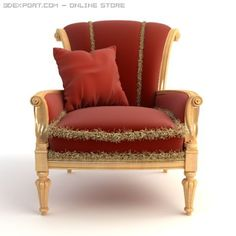 Download Red Armchair with Pillow 3D Model by Butterfly. Available formats: .max .c4d .obj .3ds .fbx .lwo .stl - 3DExport.com