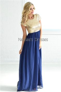 The most beautiful Navy and Gold Sequin Dress! Love this for bridesmaids and formal events!
