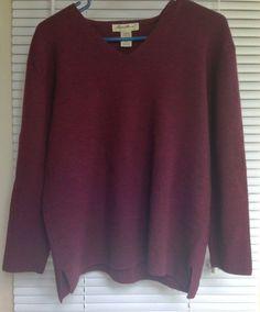 Merino Wool Sweater Women's Petite Small Eddie Bauer V Neck Purple Long Sleeves  #EddieBauer #VNeck