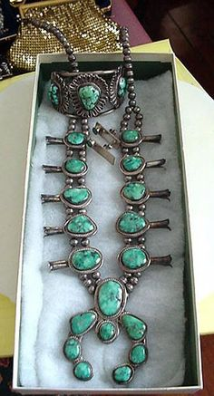 aa40ec25b68 A Beautiful Squash Blossom Necklace   Cuff Bracelet ~ Native American  Jewelry Is So Well Made