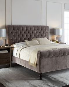 Love this purple velvet bed in amethyst >>> Lourdes Tufted Bed by Old Hickory Tannery at Horchow.