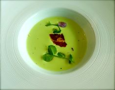 Parade Ring, Ascot: Chilled garden pea, buttermilk,  and snow pea velouté, serrano ham, and mint flowers