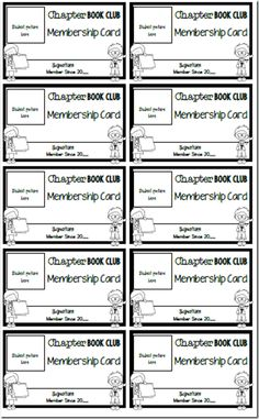 FREE book club membership cards from Where the Magic Happens Blog.