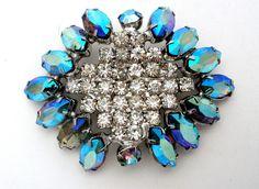Blue Aurora Borealis Rhinestone Brooch Rockabilly Fashion Jewelry
