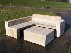 Lounge hoekbank van oud steigerhout wel geschuurd (22131540) (lhbrr)