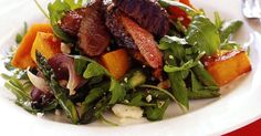 Fire up the barbecue for this easy but flavoursome warm balsamic lamb salad. Salad Recipes Nz, Lunch Recipes, Healthy Recipes, Savoury Recipes, Healthy Lunches, Diabetic Recipes, Delicious Recipes, Lamb Steak Recipes, Meat Recipes
