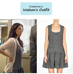 "November 20, 2013 @ 11:05 pm Sneak Peek of Tomorrow's Episode Lucy Liu as Joan Watson in Elementary - ""On the Line"" (Ep. 209).  Watson's Dress:Thakoon Addition Drop Waist Flared Skirt Dress $714.99 here 