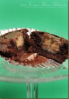 Reese's Stuffed Brownie    http://sugarbeanbakers.blogspot.com/