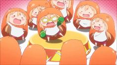 Anime picture 				854x480 with  		himouto! umaru-chan 		doma umaru 		long hair 		blush 		open mouth 		wide image 		blonde hair 		barefoot 		chibi 		arms up 		animated 		gif 		multiple persona 		dancing 		girl 		glasses 		shorts 		pajamas 		animal costume