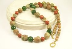 Autumn Jasper Gemstone Jewelry Necklace Autumn by BobblesByCarol