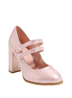 Taking Mary Janes to a whole new level // Pink Round Toe Patent Leather Double Strap Mary Jane Heels