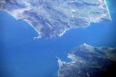 Jeff Williams  Apr 11 Strait of Gibraltar, looking south as we flew over Spain. Planets And Moons, International Space Station, Sky View, Cartography, Us Army, Gaia, Geology, The Rock, Morocco