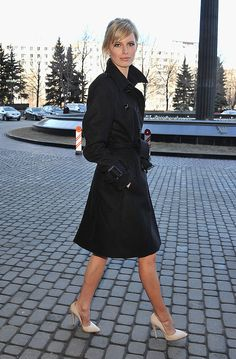 Burberry Long Pleated Full Skirt Trench Coat in Black | Fashion ...