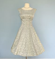 Vintage 1950s Dress...Sophisticated Mint Green Brocade