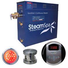 SteamSpa IN600BN Indulgence 6 KW QuickStart Acu-Steam Bath Generator Package in Brushed Nickel