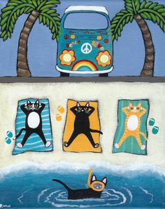 Summer Beach Vacation Cats Original Folk Art