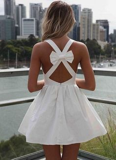 White Open Bow Cross Back Dress.