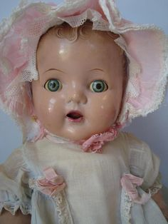 Antique 1930s Composition Baby Beautiful Doll Miracle on 34th Street Tin Eyes