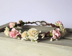 EVELINE Pale Pink Tuscan Rose and Ivory Pearl Pip by Flashfloozy