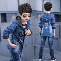 Buy Baby Boy Clothes Boys Denim Jacket 2017 Spring Boys Outerwear For Children Brand Kids Jeans Coats For Boys Teenage Clothes at Wish - Shopping Made Fun Boys Denim Jacket, Denim Jacket Fashion, Denim Coat, Jackets Fashion, Denim Jackets, Long Jackets, Baby Girl Jeans, Girls Jeans, Baby Boy Outfits