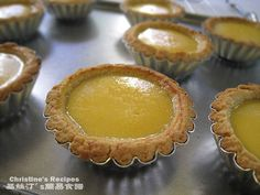 Cantonese Egg Tarts  Ingredients of crust:   225 gm plain flour  125 gm butter  55 gm icing sugar  1 egg, whisked  a dash vanilla extract  Ingredients of custard::   3 eggs  110 gm caster sugar  225 gm hot water  85 gm evaporated milk  1/2 tsp vanilla extract