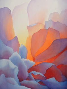 """Rachel B.Collins-Watercolor-""""Rose Backlit III"""""""
