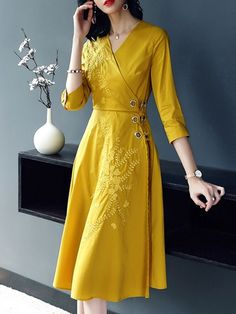 Just Shop for Embroidery Solid Color Sashes Seven-Tenths Sleeves A-Line Dresses from Jollyhers Online now: All Kinds of Designer Daily Dresses with Lowest Pric Stylish Dresses, Elegant Dresses, Casual Dresses, Modest Fashion, Hijab Fashion, Fashion Dresses, Best Prom Dresses, Day Dresses, A Line Dresses
