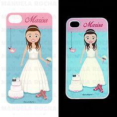 ilustração personalizada para capa de telemovel - noiva