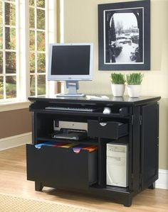 Arts & Crafts Compact Computer Cabinet in Black