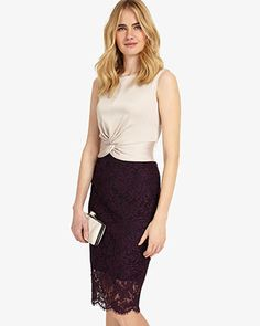 Phase Eight Coralie Lace Dress Neutral