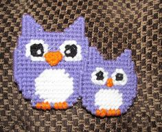 Owl Plastic Canvas Pattern - Mom And Baby Owl Magnet Party Favors Instant Download PDF