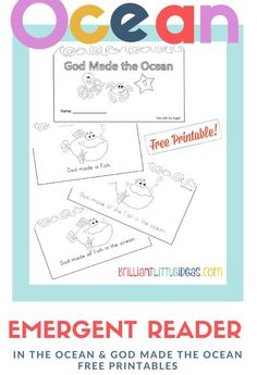 Free Printable for kids daycare or Sunday school. Filled with ocean animals and easy to read words. God made the ocean and In the Ocean Emergent Reader Book. If you have paper and ink it's ready for download NOW!!