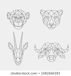 Set polygon animals of Africa. The geometric heads of a monkey, cheetah, antelope and buffalo. Geometric Quilt, Geometric Drawing, Geometric Animal, Cartoon Drawings, Animal Drawings, Buffalo Animal, Futurism Art, Monkey Tattoos, Polygon Art