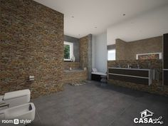 Larissa (Bathroom) Banheiro moderno rústico Tile Floor, Garage Doors, Flooring, Outdoor Decor, Home Decor, Rustic Modern Bathrooms, Hipster Bathroom, Toilet Room, Maids