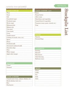 Free Household Notebook. Includes 36 Printables: Grocery Stockpile List