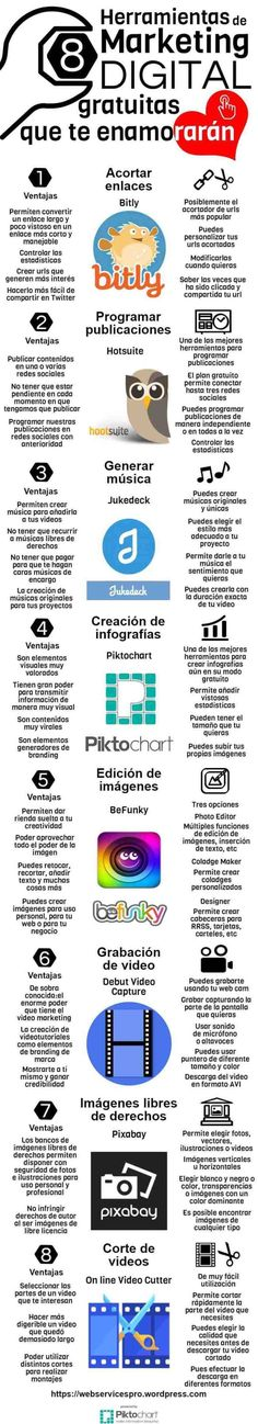8 herramientas de Marketing Digital que resultan imprescindibles, o al menos muy importantes, para facilitarnos nuestra tarea. Inbound Marketing, Mundo Marketing, Marketing Mail, Social Media Digital Marketing, Marketing Online, Marketing Tools, Marketing And Advertising, Business Marketing, Content Marketing