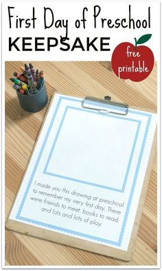First Day Of Preschool Keepsake FREE Printable FREE printable first day of preschool keepsake and some great tips for how to start the year right! The post First Day Of Preschool Keepsake FREE Printable appeared first on School Ideas. Preschool Projects, Preschool Curriculum, Preschool Printables, Preschool Lessons, Preschool Learning, Preschool Activities, Preschool Rooms, Preschool Classroom Themes, Art Projects