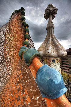 Roofline of the Casa Batlló, Barcelona, Spain