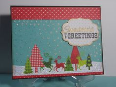 Seasons Greetings Snowy Scene Christmas Card by TheCraftieOne