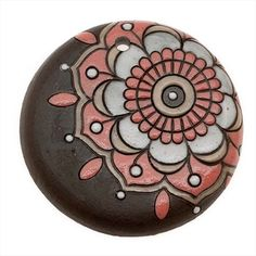 GOLEM STUDIO GLAZED CERAMIC DISC PENDANT BROWN W PINK ART DECO FLOWER 46MM 1 from beadaholique.com