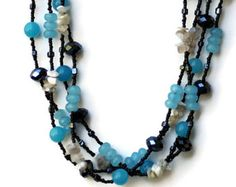 Extra long aqua blue gray black necklace Multi wrap beaded necklace Botswana agate jade Multicolored jewelry Bohemian multi strand necklace